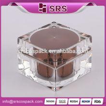 Acrylic empty luxury cosmetic jars, personal care square shape luxury acrylic cosmetic packing wholesale