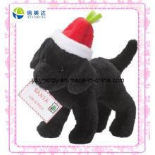 Santa Claus 'Helper Schwarzer Hund Billig Weihnachten Plüschtier (XDT-0185)