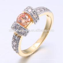 Últimas mulheres vestido de jóias champanhe zircônia cúbica 18k anel de jóias de ouro