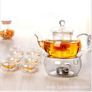 glass teapot set with warmer and cups