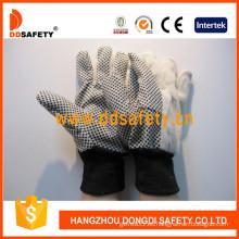 PVC Dotted lona de algodón de seguridad industrial guantes (dcd308)