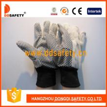 PVC Dotted Algodão Canvas Luvas de Segurança Industrial (DCD308)