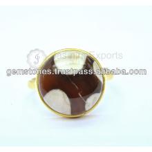 Natürliches Gold überzogener Edelstein Ringe Großhandel Lieferant 925 Sterling Silber Edelstein Lünette Ring