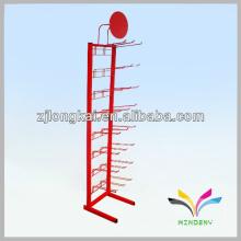 Freistehende, einfache, stabile, rote Turmdraht-Mesh-Display-Rack-Stand