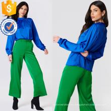 La blusa de manga larga plisada de la blusa de manga larga de la marina de guerra manufactura la ropa al por mayor de las mujeres de la manera (TA0048B)