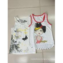 Colete sem mangas de t-shirt para a menina em roupas de moda infantil (sv-021-029)