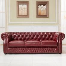 Sofá de cuero de Chesterfield de estilo europeo