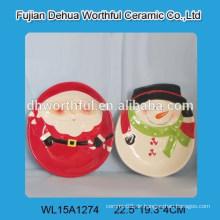 Großhandels-Weihnachtsmann und Schneemannform keramische Platte für Weihnachten