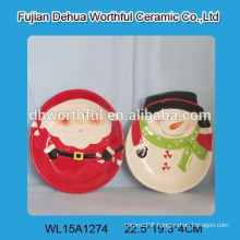 Wholesale santa claus and snowman shape ceramic plate for Christmas