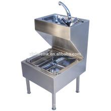 Lavamanos comercial de acero inoxidable, unidad de limpieza de acero inoxidable con lavamanos,