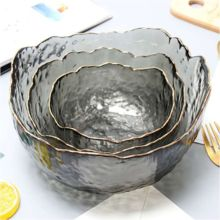 Smoke Gray Painted Gold Salad Bowl