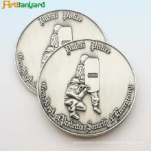 Símbolo de moneda de metal personalizado con chapado