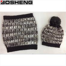 Sombrero de tejer de color suave suave caliente y bufanda de infinito