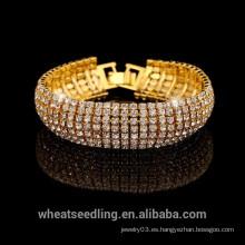2015 Vogue pulsera de plata de lujo de oro completo de cristal para las damas