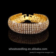2015 Vogue Luxury Gold Silver Full Off Crystal Bracelet for Ladies