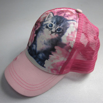 Kids Cat Sublimation Print Trucker Cap With Rope