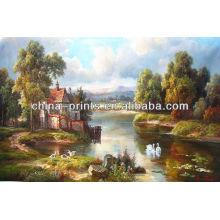 Peinture à l'huile de paysage naturel par décoration artisanale