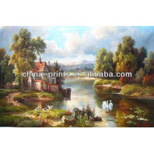 Natural Village Scenery Oil Painting By Handmade