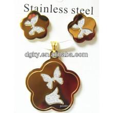 Stainless Steel Butterfly Jewelry Set Earring Pendant Set