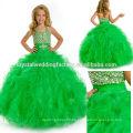 2014 de lentejuelas rebordeado ruffled falda vestido de fiesta largo verde niñas desfile vestido CWFaf5767