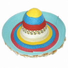 New Design Women's Mexico Straw/Sombrero Celebrating Hat, Made of Polyester