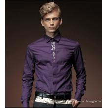 Beiläufiges langes Hülsen-Art- und Weiseformales Baumwollpolymer-Kleid-Hemd