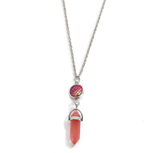 écailles de poisson prisme hexagonal Cherry Quartz Necklace