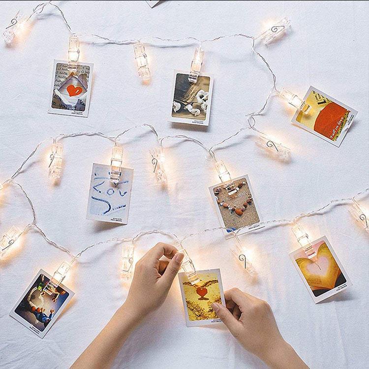 led fairy lights transparent cable led photo clips
