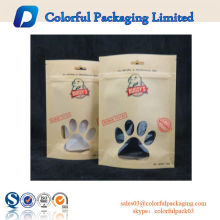 Sacos de papel de brwon natureza com janela stand up pouch cão treinamento tratar saco