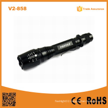 Hot Sale V2-858 18650 Battery Rechargeable Long Distance Torch Xm-L T6 Bright LED Waterproof Flashlights
