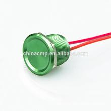 Alta calidad 19MM Oxidación del metal Rojo Color verde Antivandalismo Piezo eléctrico Interruptor impermeable IP68, Botón de encendido / apagado