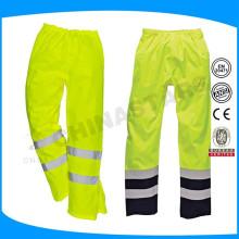 Pantalones de seguridad reflectantes amarillos con forro de malla