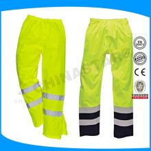 Yellow reflective safety pants with mesh lining