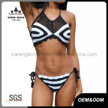 Mesh Striped Crochet Womens Bathing Suits