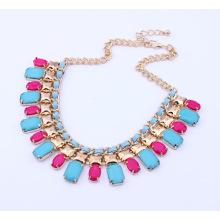Quente vender mulheres cristal colares atacado moda chapeamento zinco liga corrente gargantilha colares de ouro da resina de joias