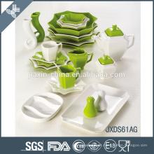 Jogo de jantar da porcelana 61PCS, jogo de jantar lateral de oito, porcelainware branco