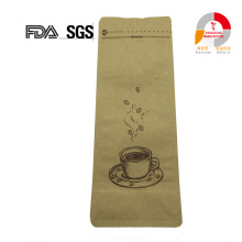 Flat Bottom E-zip Kraft Stand up Coffee Bag