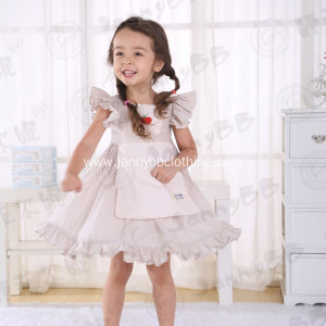 litter grey stripe girls apron boutique dresses