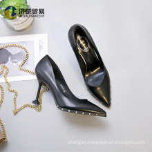 Fine with rivet tip wholesale glitter shoes heels for women 2017