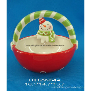 Hand-Painted Ceramic Basket with Snowman for Christmas Decoration