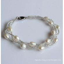Fashion Cultured Freshwater Pearl Bracelet (EB1537-1)