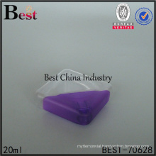 new design purple color 20ml custom cosmetic clear transparent plastic square bottle for car perfume