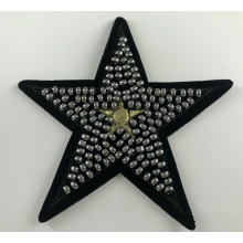 Gouden metalen draad Star Beaded Iron On Patch