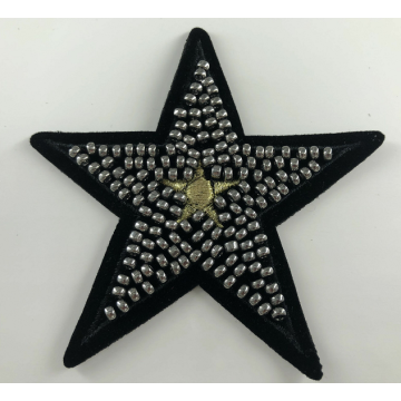 Benang emas Metallic Star Beaded Iron On Patch