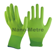 NMSAFETY DMF matériel gratuit travail utiliser salut-viz vert nylon doublure pu enduit gant moins cher pu gants
