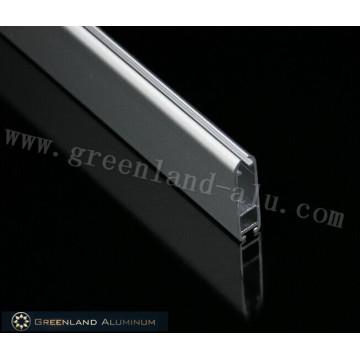 Riel inferior de aluminio mate gris oblato
