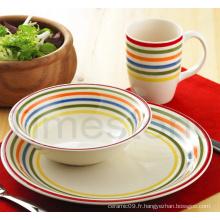 Ensemble de dîner à rayures peintes à la main en grès 12PCS (TM7516)