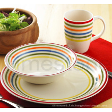 Steingut 12PCS handbemalt Stripes Dinner Set (TM7516)