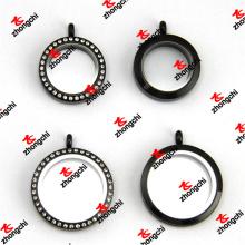 25mm / 30mm de aço inoxidável de cristal preto e vidro liso Lockets (SLK60129)