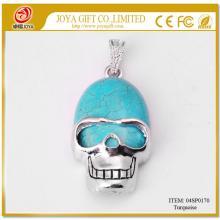 Turquoise Semi Precious stone Skull Alloy Pendant